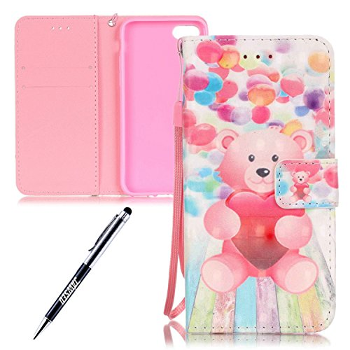 iPhone 7 Custodia, iPhone 7 Custodia Portafoglio, iPhone 7 4.7 Custodia Pelle, JAWSEU Lusso 3D Modello Design Creativo PU Leather Wallet Flip Cover Custodia per iPhone 7 Copertura con Morbida Gel Sili Orso Rosa Palloncino