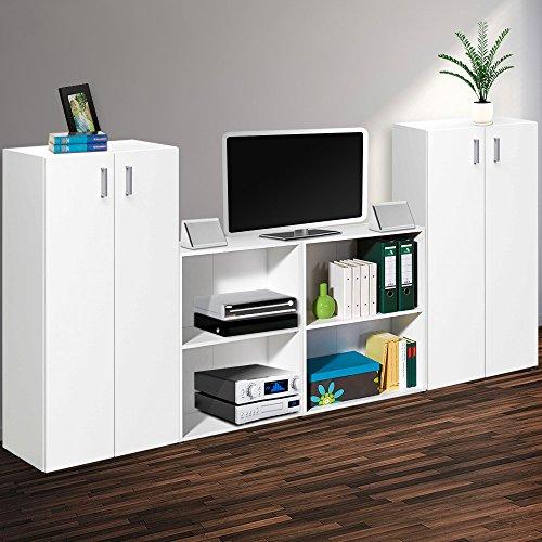 4-teiliger Wandschrank Weiß - 240cm - Platz für TV - HiFi - Bücher - Ordner - 2 Kommoden + 2 Regale (Regal Schrankwand)
