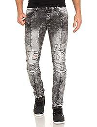 BLZ jeans - Jeans slim gris délavé troué
