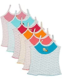 UCARE Pure Cotton Printed Multi Color Slip for Girls & Kids (2012-Pack of 6)