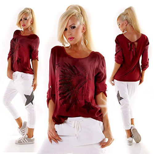 Italy Fashion Damen Blouse Tunika Batik Oversized LOOP Berry