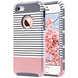 ULAK iPhone 5S Coque, iPhone 5 Coque, iPhone Se Coque Housse Étui Hybride Armour Couche 2 en TPU + PC Anti-Chocs Dur Coque pour Apple iPhone 5 5S Se (Or Rose Stripes + Gris)