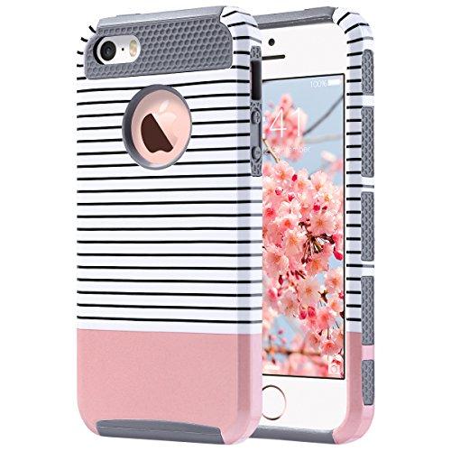 iPhone 5S hülle, ULAK iPhone SE hülle dünne Passform Dual Layer Hybrid hart PC + TPU Schutzhülle für iPhone 5 / 5S / SE (Streifen + Roségold) (Se-streifen)