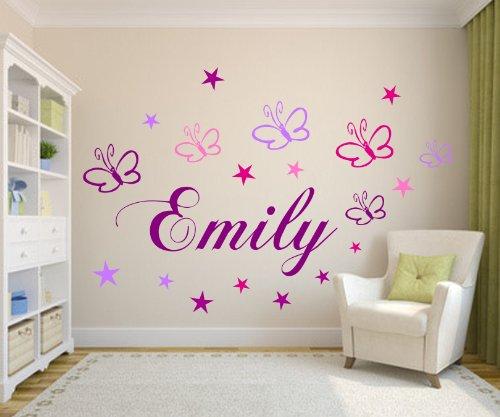 **WunschNamen mit Schmetterlingen+Sternen Wand Spruch XXL 120cm x 32cm Wandtattoo-Set Kinderzimmer Baby