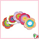 Set 5 fiori colorati per applicazioni varie, spille o magneti ad uncinetto in cotone - dimensioni ø 5 cm - Handmade - ITALY