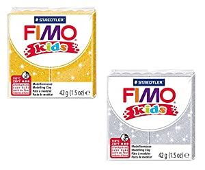 STAEDTLER 8030 AMZ 02 - Fimo niños Brillar plastilina, a 2 cuadras, 42 g, Amarillo / Plata