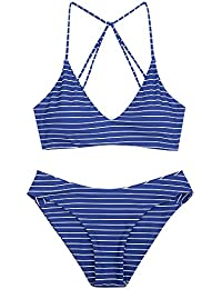 9f2455690 ZAFUL Women's Striped Caged Bathing Suit Spaghetti Straps Mid Waist Bikini  Set Swimwear Swimsuit