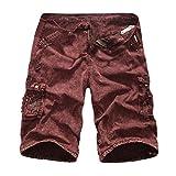GreatestPAK Pants Cargo-Shorts der Tarnung-Männer beiläufige im Freien Taschen-Strand-Arbeits-Hosen-Hose,Rot,29