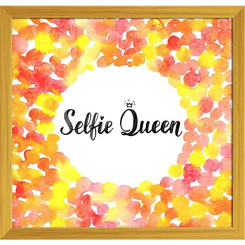Pitaara Box Selfie Queen Canvas Painting Golden Frame 21 X 20Inch (Queen-size-split-box)