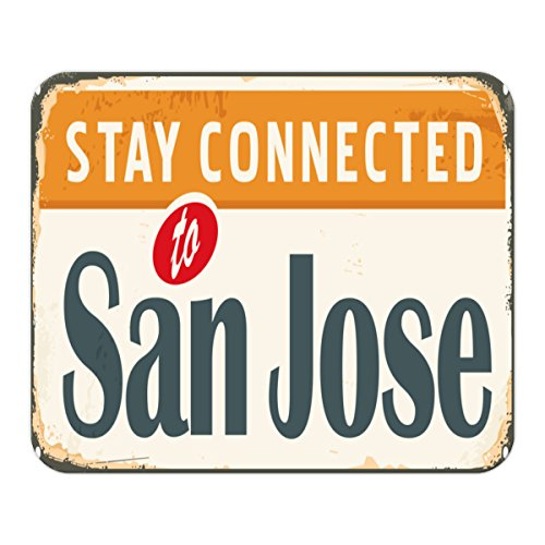 Gaming Mauspad mit Fotodruck Mousepad 220 x 180 mm Rutschfest Schwarz Fransenfreier Rand Präzision Fernweh Stadt San Jose USA bedruckt