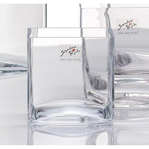 6er SET Glasvase, Glaswürfel Dekoglas CUBE 12x12cm quadratisch eckig Sandra Rich