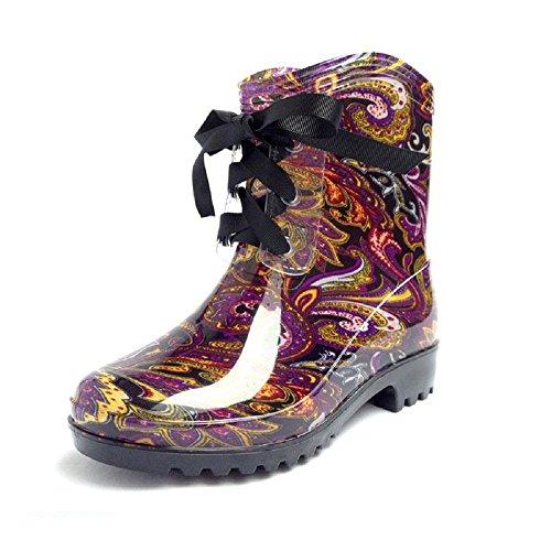 stivali primavera e l'estate di modo delle donne nel tubo impermeabile caldo scarpe d'acqua gelatina Miss Gao Gen Purple