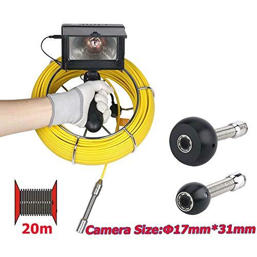 JaidWefj 20m Rohr Inspektions Kamera /17mm HD Abfluss Abwasserkanal industrielles Endoskop imprägniern IP68 Videosystem mit 4.3-Zoll Monitor 1000TVL/8 LED Lichter (Abfluss-kamera)