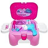 HZY Pink Spielzeug Schönheits Set Einem Hocker Carrycase Mit Pretty Zubehör Geburtstagsgeschenk für Kinder