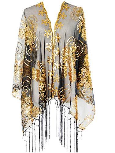 keland Frauen Shiny Mesh Pailletten Schal Hochzeit Mantel Fransen Abend Wraps Wraps Shrug Bluse Tops Shirts (Gold und Schwarz) (Schals Und Wraps Für Hochzeit)