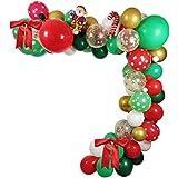 """LLH - Lote de 106 globos de Navidad, 18 """"12"""", 5 """", diseño de globos de Navidad, rojo, verde, blanco, oro, Santa Claus, globo"""
