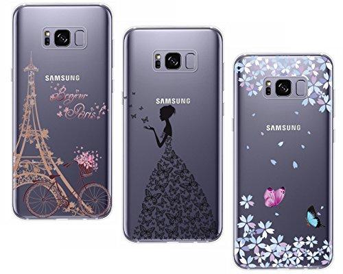 CreWin 3 Pack Hülle kompatibel mit Samsung Galaxy S8 Plus Handyhülle Silikon Gel TPU Transparent Bumper Durchsichtig Schutzhülle Klar Handytasche Soft Case- Turm Fahrrad+ Blumen+ Schmetterling Mädchen