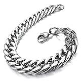 MunkiMix Edelstahl Armband Link Handgelenk Silber Ton Herren - 2