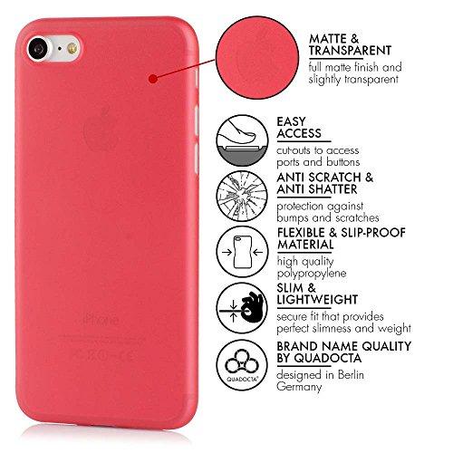 """QUADOCTA iPhone 7 (4,7"""") Ultra Slim Hülle - Schutzhülle - """"Tenuis"""" in Schwarz - Ultra dünnes Case - Leicht transparentes Cover kompatibel mit Apple iPhone7 mit Kameraschutz Rot"""