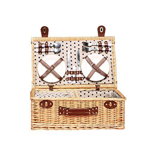 Wicker Outdoor-lagerung (Picknickkorb 2019 Der neueste - isolierte 4-Personen-Korb aus Korbwaren - Premium-Set mit Tellern, Weingläsern, Besteck und Servietten)
