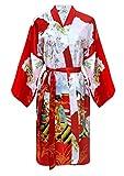 Kimono japonais femme robe de chambre elegante satin motif geisha, Rouge, XL-XXL