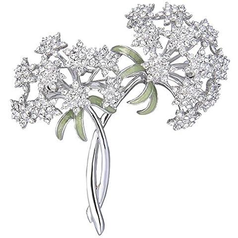 EVER FAITH® Ton d'Argent Cristal Autrichien Gypsophila Fleurs Bouquet Broche
