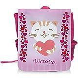 Kinder-Rucksack mit Namen Victoria und süßem Katzen-Motiv mit Herzen für Mädchen