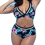 Damen große größen Badeanzug Mode Bikini-Set Frauen Strandbekleidung mit V-Ausschnitt 2 Stück / Satz Bademode, Juleya