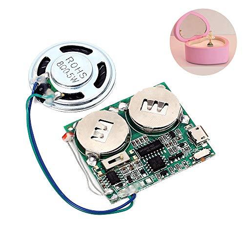 PEMENOL Re-recordable USB Musik Ton Sprachaufnahme Spieler Chip Modul, 8 MB Speicher 480 Sekunden Aufnahme mit 2 Aufladbarer Lithium Batterie für DIY Geschenkbox (Lichtempfindliche Kontrolle) (Sound-modul Chip)