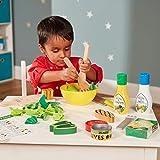 Melissa & Doug Slice & Toss Salad Set (Pretend Play, Self-Stick Tabs, Reusable Double-Sided Menu, 52 Pieces, 30.48 cm H × 40.64 cm W × 8.89 cm L)