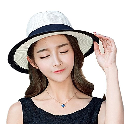 Siggi Ladies Straw Panama Sun Boater Hat Womens Beach Wide Brim Fedora Summer Test