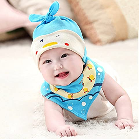 El sombrero del bebé del sueño infantil y babero Conjunto niño de 0-18 meses de algodón Beanie Por Webeauty (Azul)