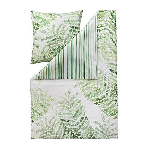 ESTELLA Bettwäsche Fern | grün | 135x200 + 80x80 cm | Mako-Satin mit seidigem Glanz | trocknerfest | atmungsaktiv und anschmiegsam | 100% Baumwolle