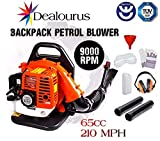 Dealourus 65cc Petrol Backpack Leaf Blower, Extremely Powerful - 210MPH Lightweight With New