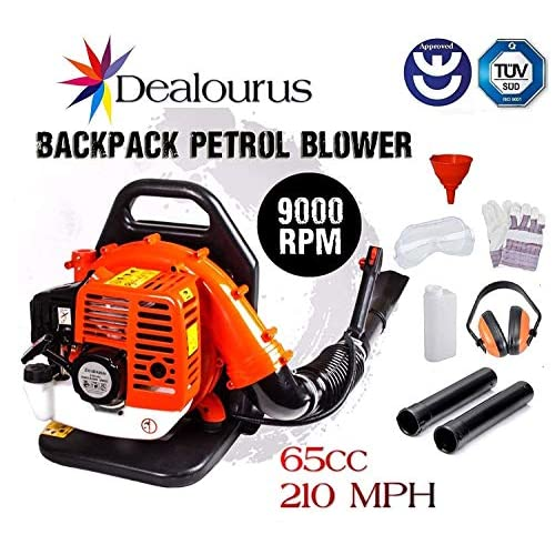 Dealourus 65cc Petrol Backpack Leaf Blower, Extremely Powerful – 210MPH Lightweight With New and Improved Padded Support Straps For Maximum Comfortability