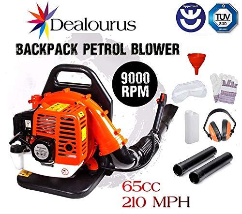 Dealourus - Soplador de Hoja de Gasolina con Mochila de 65cc - Potente Motor...