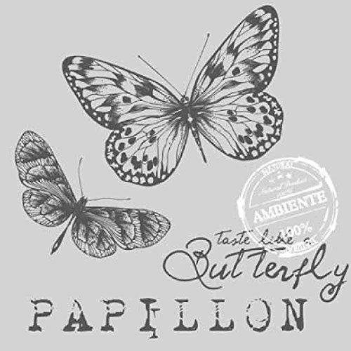 Ambiente Serviette en papier 33 x 33 cm - Papillon - Gris