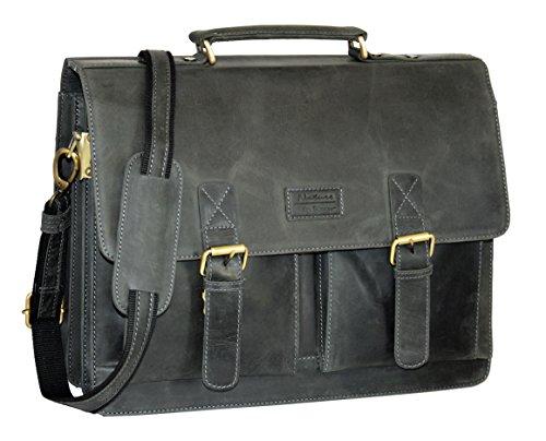 Menzo Aktentasche aus echten Leder, Lehrertasche, Businesstasche, Messenger Bag, Bürotasche, Arbeitstasche, Ideal für Uni Schule und Arbeit schwarz
