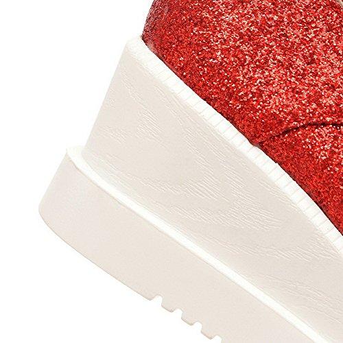 VogueZone009 Donna Pelle Smerigliato Allacciare Punta Quedrata Tacco Medio Puro Ballerine Rosso