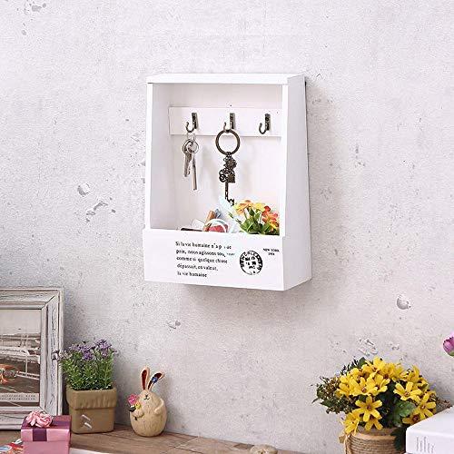 TZZ Modernes Regal und Schlüsselregal - Vintage Schlüsselbox Wand hängen Kreative Wand hängen Holz Ornament Geschenk Aufbewahrungsbox Haushalt Wandbehang (Farbe : Weiß)