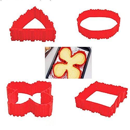 Bricolaje 4 piezas de molde de silicona para hornear serpiente mágico pastel cuadrado rectángulo forma circular herramientas caramelos
