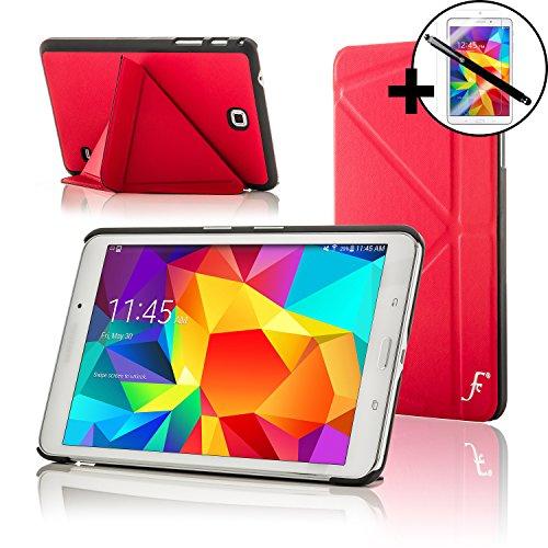 Forefront Cases Smart Hülle kompatibel für Samsung Galaxy Tab 4 8.0 Origami Schutzhülle Tasche Case Cover - Ultra Dünn Leicht Rundum-Geräteschutz Smart Auto Schlaf Wach + Stift & Displayschutz (ROT) (Origami Samsung 4 Für Tab Case)