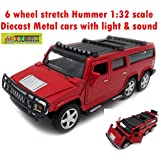 Toy-Station - Die CAST Metal Play Set - Perfect Toy Set For Kids (6 Wheel Stretch Hummer CAR 1:32 Scale Diecast Metal With Light & Sound - RED)