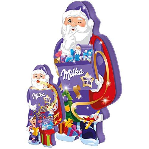 Mischung Alpenmilch - Schokolade MILKA MAGIC MIX - WEIHNACHTSMANN (124 g / 11 - tlg.) IN GESCHENKVERPACKUNG