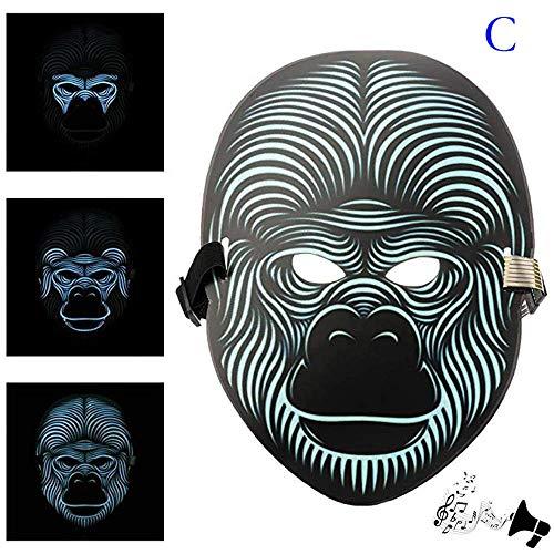 (LED Mask TAOtTAO Partei Version Sound Reaktive LED Maske Tanz Rave Leuchten Einstellbare Maske (C))