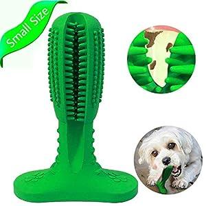 Brosse à dents chien bâton caoutchouc naturel chien à mâcher jouets chiot soins dentaires chien mâcher brosse à dents pour animaux de compagnie chiots (pour 25-40 lbs) (Vert)