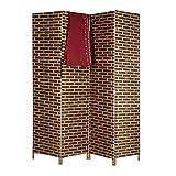 Relaxdays Biombo Separador de Ambientes, Cordón de Papel, Marrón, 180 x 171 x 2 cm