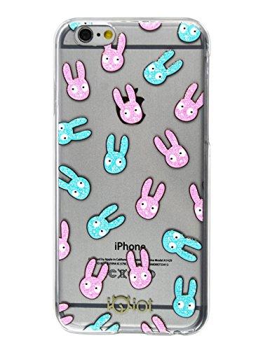 Idiot monstre mignon d'impression en caoutchouc transparent bord PC Housse de protection Coque rigide pour Apple iPhone 6Plus 14cm Lapin image Étui