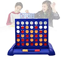 4 In A Row Game, Classic Grid Board Game Sports Entertainment Toys, Choose Between Classic White Or Dark Stain, Jumbo 4 Connect Family Fun With Coins, Case And Rules