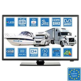 Camper Caravan Barca 12 Volt 22 pollici (56 cm) LED Full HD Digitale TV DVB-T2/C/S2 Terrestre/Cavo/Satellite TV 12V 220V USB PVR & Lettore multimediale, VGA & HDMI Monitor per PC
